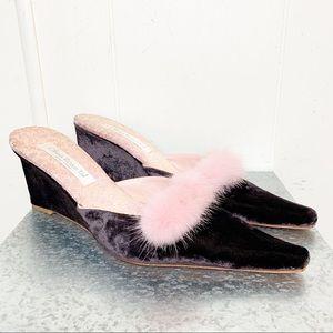 Olivia Rose Tal Chocolate Brown Velvet Mule Pink